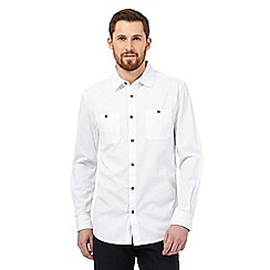 RJR.John Rocha - Big and tall white textured stripe long sleeved shirt