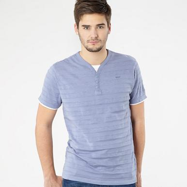 Designer light blue y-neck mock layer t-shirt