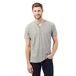 RJR.John Rocha - Big and tall grey textured y neck t-shirt
