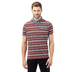 RJR.John Rocha - Big and tall red textured striped chambray trim polo shirt