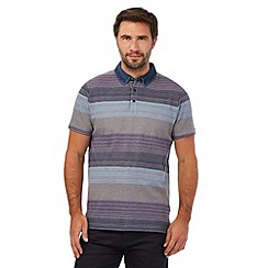 RJR.John Rocha - Purple block striped print denim collar polo shirt