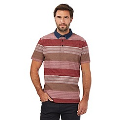 RJR.John Rocha - Pink block striped print denim collar polo shirt