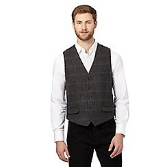 RJR.John Rocha - Big and tall grey wool blend checked waistcoat