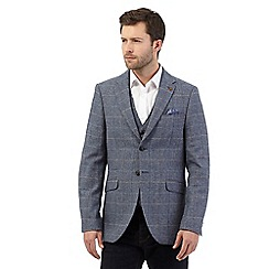 RJR.John Rocha - Big and tall blue wool blend herringbone blazer