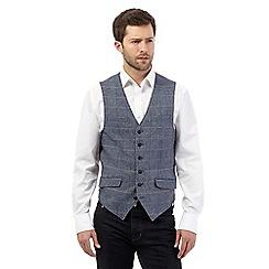RJR.John Rocha - Big and tall blue wool blend herringbone waistcoat