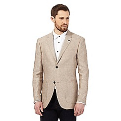 RJR.John Rocha - Big and tall cream textured herringbone linen jacket