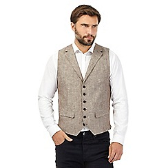 RJR.John Rocha - Big and tall brown textured linen waistcoat