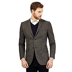RJR.John Rocha - Big and tall brown herringbone wool blend blazer