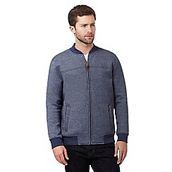 RJR.John Rocha - Big and tall blue ribbed baseball sweater