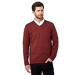 RJR.John Rocha - Big and tall red V neck knitted jumper
