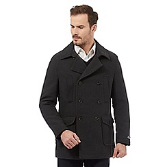 RJR.John Rocha - Big and tall dark green twill reefer coat with wool
