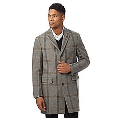 RJR.John Rocha - Big and tall brown and grey checked wool blend coat