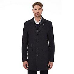 RJR.John Rocha - Navy herringbone patterned moleskin Epsom coat