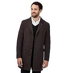 RJR.John Rocha - Big and tall brown herringbone buttoned coat