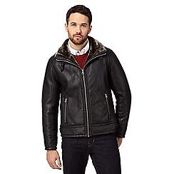 RJR.John Rocha - Big and tall black faux fur lined biker jacket