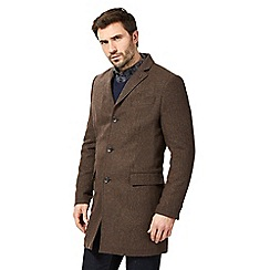 RJR.John Rocha - Brown wool blend herringbone epsom coat