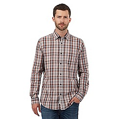 RJR.John Rocha - Grey and peach checked print shirt