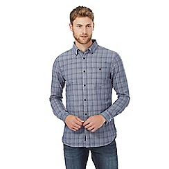 RJR.John Rocha - Blue checked print tailored fit shirt