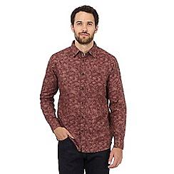 RJR.John Rocha - Dark red leaf print long sleeved shirt