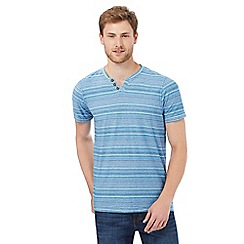 RJR.John Rocha - Big and tall turquoise striped print notch neck t-shirt