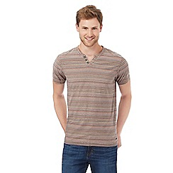 RJR.John Rocha - Big and tall khaki striped print notch neck t-shirt