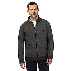 RJR.John Rocha - Big and tall dark grey textured herringbone zip through sweater