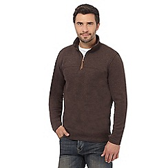 RJR.John Rocha - Brown ribbed zip neck top