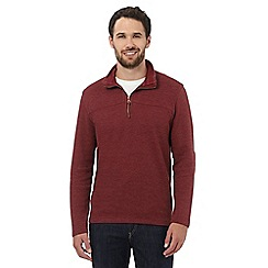 RJR.John Rocha - Red zip neck French ribbed jumper