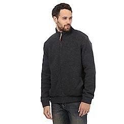 RJR.John Rocha - Big and tall grey textured zip through sweater