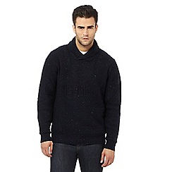 RJR.John Rocha - Big and tall navy textured shawl sweater with wool