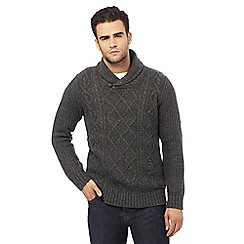 RJR.John Rocha - Dark grey cable knit shawl sweater