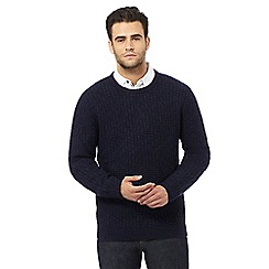 RJR.John Rocha - Big and tall navy wool blend zig zag crew neck jumper