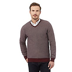 RJR.John Rocha - Big and tall red textured v neck jumper