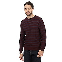 RJR.John Rocha - Dark red striped crew neck jumper