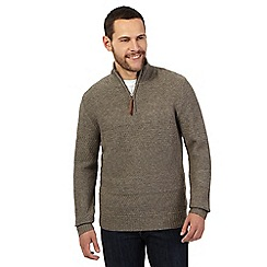 RJR.John Rocha - Big and tall light brown lambswool rich zip neck sweater