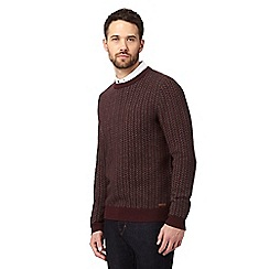 RJR.John Rocha - Dark red lamsbwool rich herringbone jumper