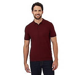 RJR.John Rocha - Dark red basket weave textured polo shirt