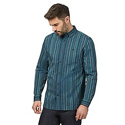 RJR.John Rocha - Navy and green textured striped shirt