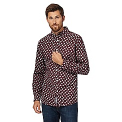 RJR.John Rocha - Big and tall dark red leaf print tailored fit shirt