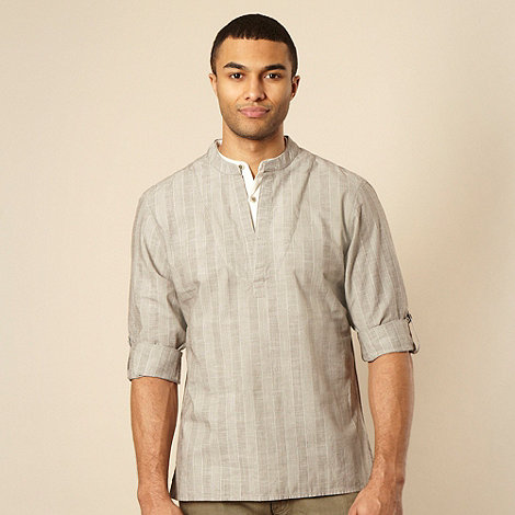 RJR.John Rocha - Big and tall brown fine textured striped kaftan shirt