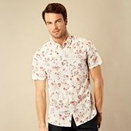 Big and tall dark pink floral print shirt