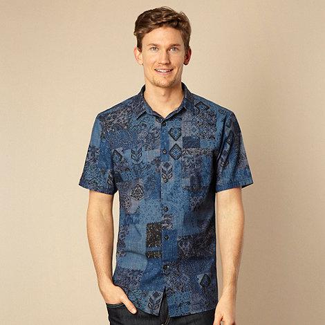 RJR.John Rocha - Designer navy patchwork woven shirt