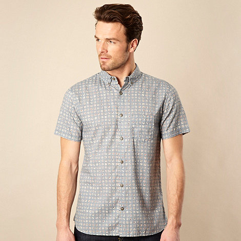 RJR.John Rocha - Pale blue tile patterned shirt