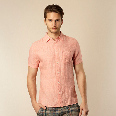 RJR.John Rocha - Big and tall designer peach plain linen shirt