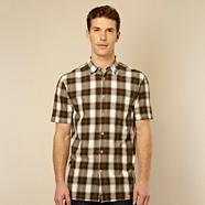 Designer dark green diamond checked shirt