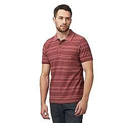 RJR.John Rocha - Dark red textured striped polo shirt