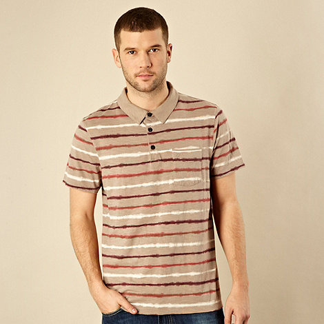 RJR.John Rocha - Big and tall beige watercolour striped polo shirt