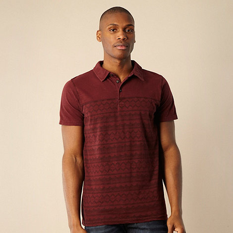RJR.John Rocha - Designer maroon navajo cut and sew polo shirt