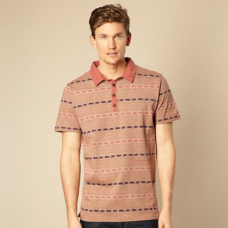 RJR.John Rocha - Designer red aztec patterned striped polo shirt