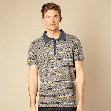 RJR.John Rocha - Designer blue varied striped fine floral polo shirt